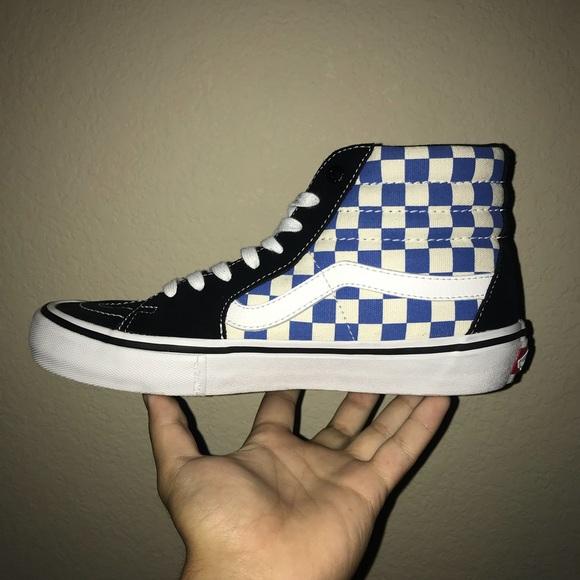 Vans Blue Checkerboard SK8-HI Pros
